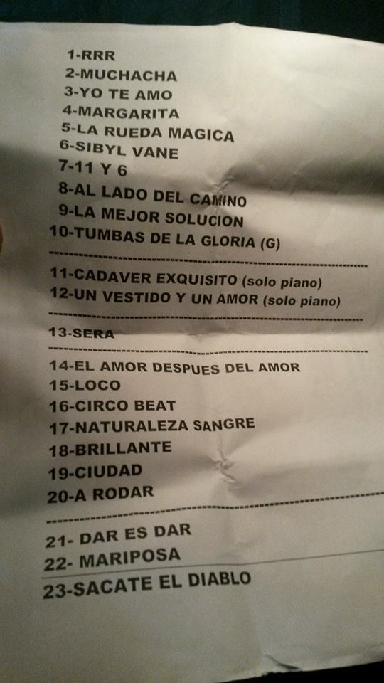 Set List Fito Páez