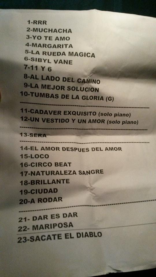 Set List Fito Páez