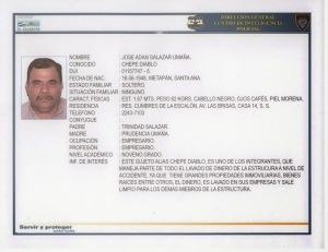 """Ficha policial de José Adán Salazar Umaña, alias """"Chepe Diablo"""", considerado capo de narcotráfico por la administración Obama. En El Salvador ha sido favorecido por la Fiscalía General."""