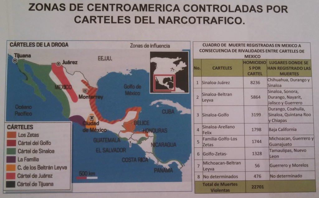 Las áreas de control territorial de los carteles mexicanos según la ONU, tomado de InSightCrime.