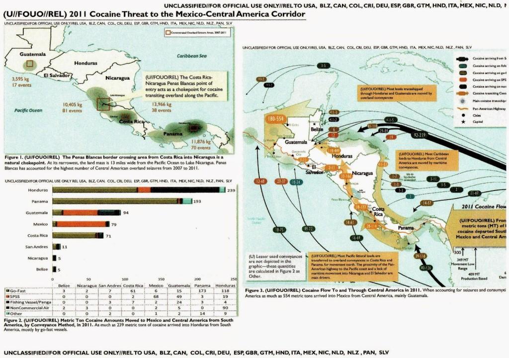 Las rutas de la cocaína en Centroamérica en 2011 según varias agencias del gobierno estadounidense.