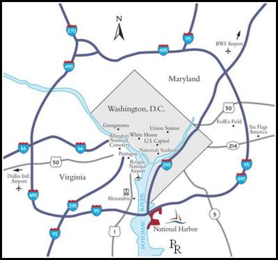 """Mapa del Distrito de Columbia (Washington, área gris). Las redes de prostitución manejadas por la MS13 operaban sobre todo en barrios y condados de Maryland, al norte, y Virginia, al sur, en el área delimitada por el Periférico de la capital (El """"Beltway"""" o ruta 495). Foto tomada del sitio web del Sistema de Transporte Metropolitano de Washington."""