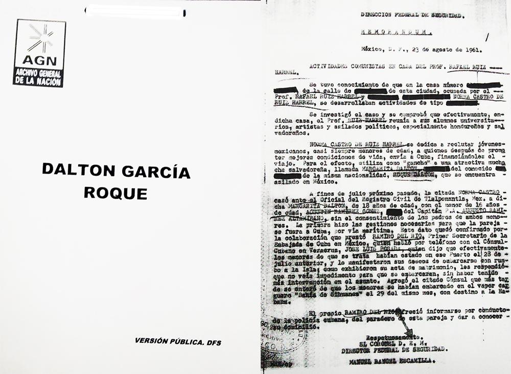 Expediente de investigación que la ¿? realizó durante los años en los que Roque Dalton vivió en México, DF.