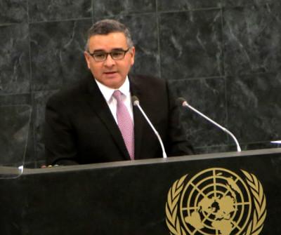 El expresidente Mauricio Funes ante el pleno de la Asamblea General de Naciones Unidas. Foto tomada del portal un.org