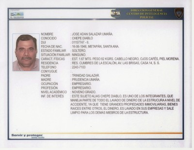 Ficha de José Adán Salazar Umaña.