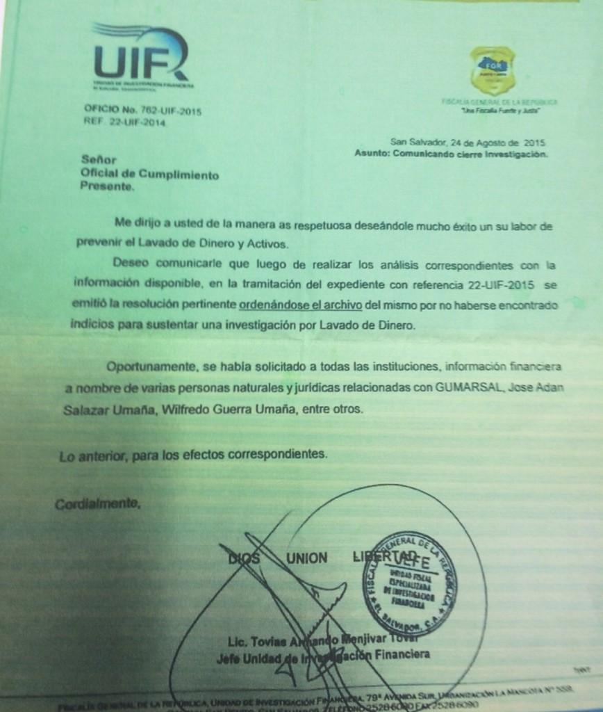 Copia de la carta en la que el jefe de la UIF-FGR manda al archivo el proceso por lavado contra José Adán Salazar Umaña.