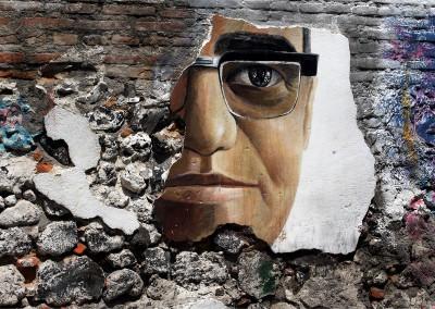 Mural con el rostro de Monseñor Romero. Foto de Francisco Campos.