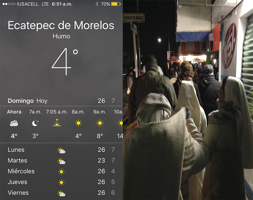 Para ver al papa en Ecatepec hubo personas que lo esperaron por 18 horas. El frío de la madrugada fue muy intenso. Foto/Orus Villacorta.