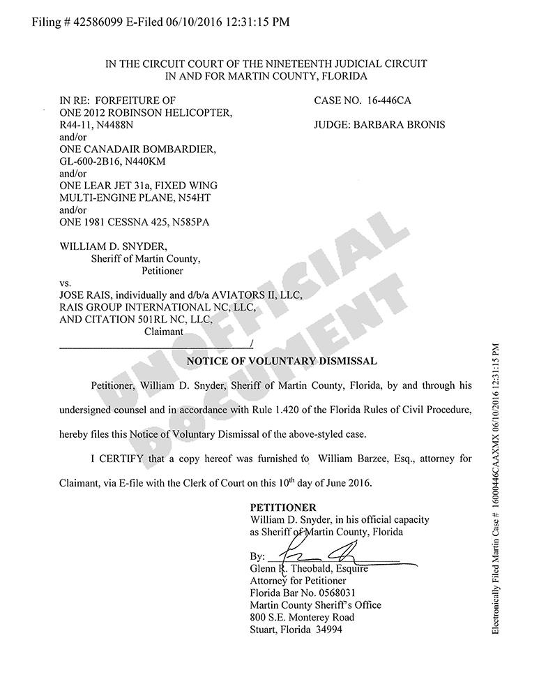 Petición del alguacil del condado de Martín (Florida) de desestimar caso civil contra Enrique Rais.