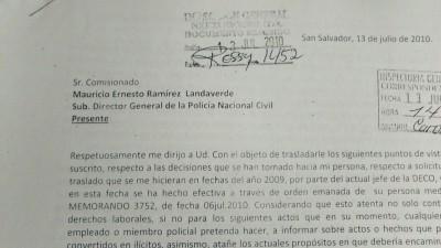 Copia de uno de decenas de documentos que Monroy envió a las autoridades policiales.