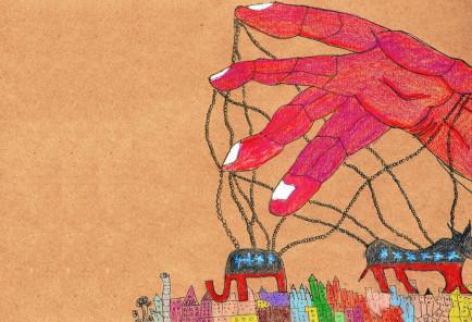 """""""Los de abajo"""". Ilustración de Luis Deleón."""