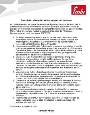 Carta de apoyo del FMLN a José Luis Merino, tras las acusaciones del senador estadounidense Marco Rubio, republicano por la Florida.