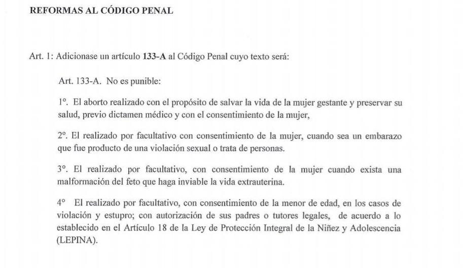 La propuesta de reforma al Código Penal presentada por el FMLN.