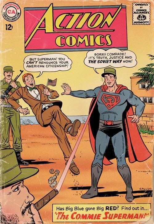 En esta portada podemos ver a Superman encendiendo un habano a Fidel, mientras jura lealtad al régimen comunista.
