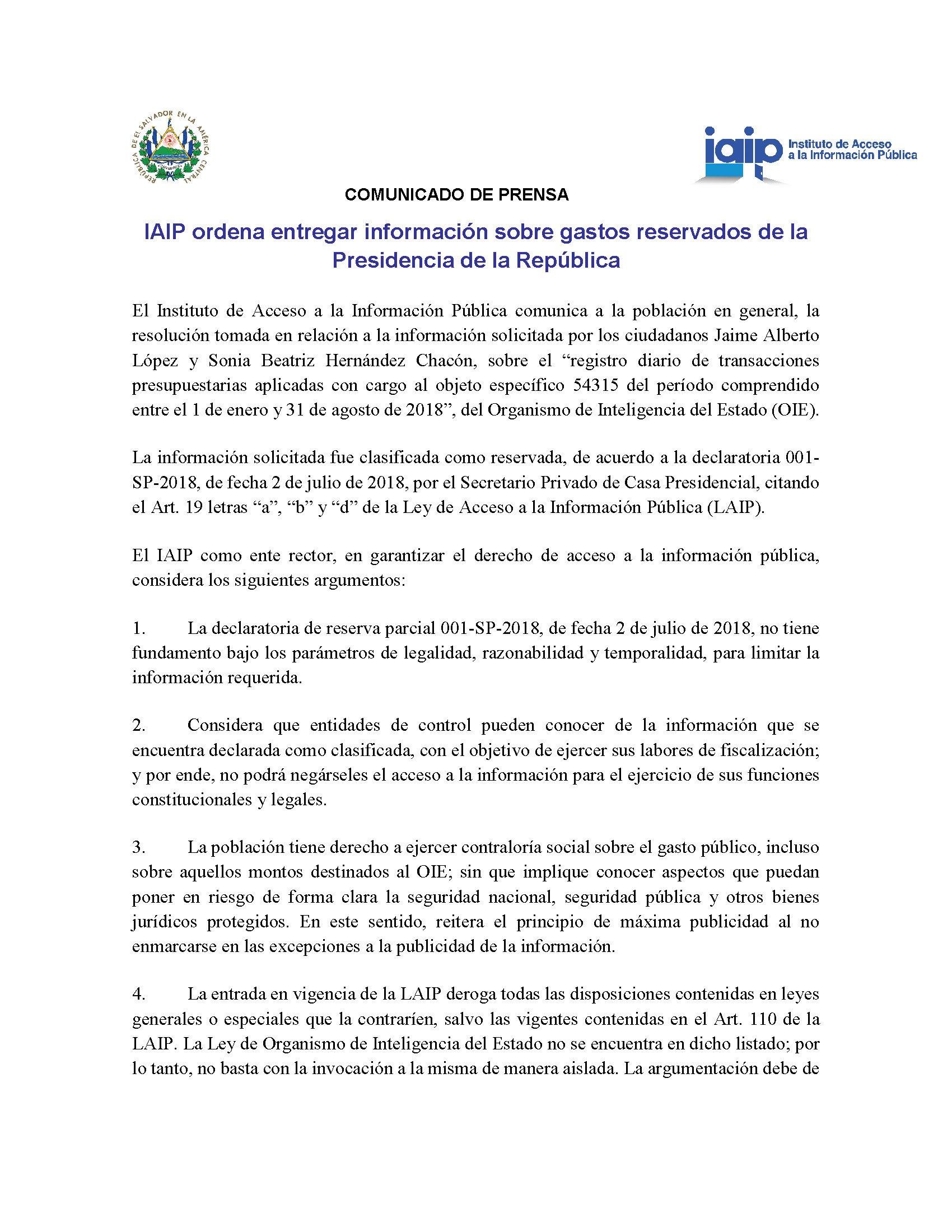 Comunicado resolución IAIP-OIE 1