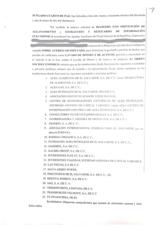 Solicitud para realizar allanamientos a empresas del conglomerado de Alba Petróleos.